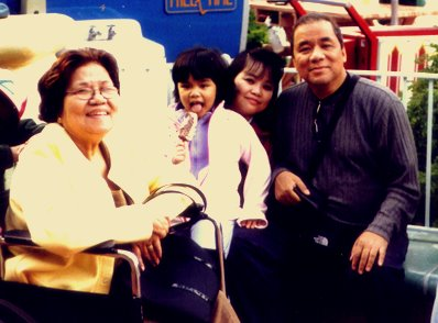 Mama with Mariel and us at Disneyland